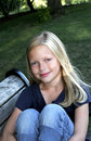 Free Pretty Girl On Park Bench Royalty Free Stock Photography - 2456147