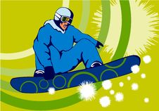 Free Snowboarder Green Rainbow Royalty Free Stock Photo - 2452265