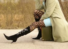 Free Lady And Suitcase Royalty Free Stock Photography - 2452987