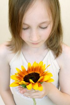 Free Girl With Yellow Flower Stock Photo - 2455420