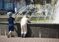 Free Two Boys At A Fountain Royalty Free Stock Photos - 2458748
