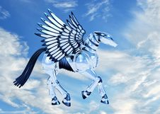 Free Chrome Pegasus In Sky Royalty Free Stock Image - 2459706