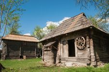 Wooden Buildings Made Of Wood In Rural Romania Stock Photo