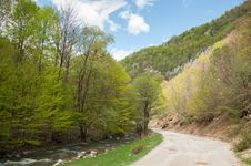 Free Small Mountain Road And River Royalty Free Stock Image - 24500906