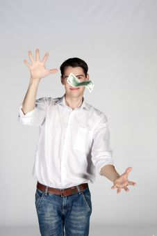 Free Young Man Catches Dollar Stock Image - 24503151