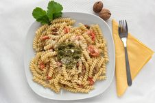 Free Pasta With Pesto Royalty Free Stock Photography - 24503237