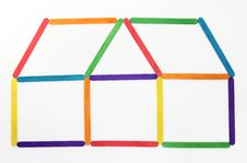 Free House Icon Made Colorful Wood Stock Photos - 24504903