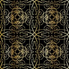 Free Seamless Background With Filigree Ornament Stock Images - 24506714