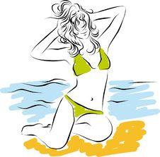 Free Girl On Beach. Royalty Free Stock Photo - 24509175