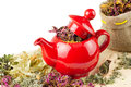 Free Red Teapot, Mortar And Pestle Royalty Free Stock Image - 24510916