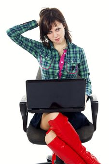 Free Beautiful Girl On The Couch With A Laptop Royalty Free Stock Photo - 24514205