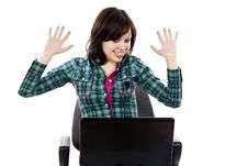 Free Happy Girl With A Laptop Stock Photo - 24514280