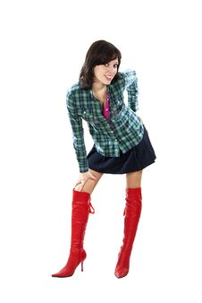 Free Beautiful Girl Standing In The Red Boots Stock Images - 24514484