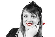 Free Girl Holding A Lipstick Stock Photos - 24514563