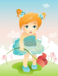 Free Girl With Tulip Royalty Free Stock Image - 24515596