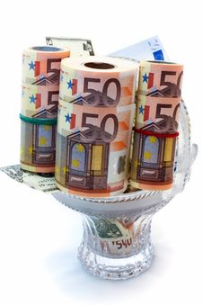 Free Monetary Denominations Laid In A Vase Royalty Free Stock Image - 24518216