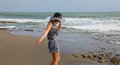 Free Walking Girl On The Beach Stock Images - 24522844