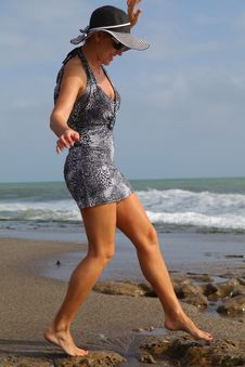 Free Walking Girl On The Beach Stock Photography - 24523062