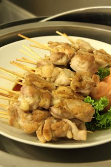 Free Grilled Chicken Skewers Stock Photo - 24526280