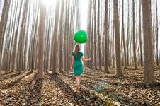 Free Blonde Girl, Walking Into The Forest Royalty Free Stock Images - 24527529