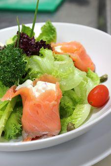 Salad Smoked Salmon Stock Image