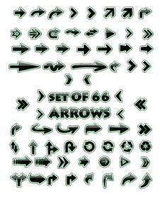 Set Of 66 Glossy Arrows Royalty Free Stock Photography