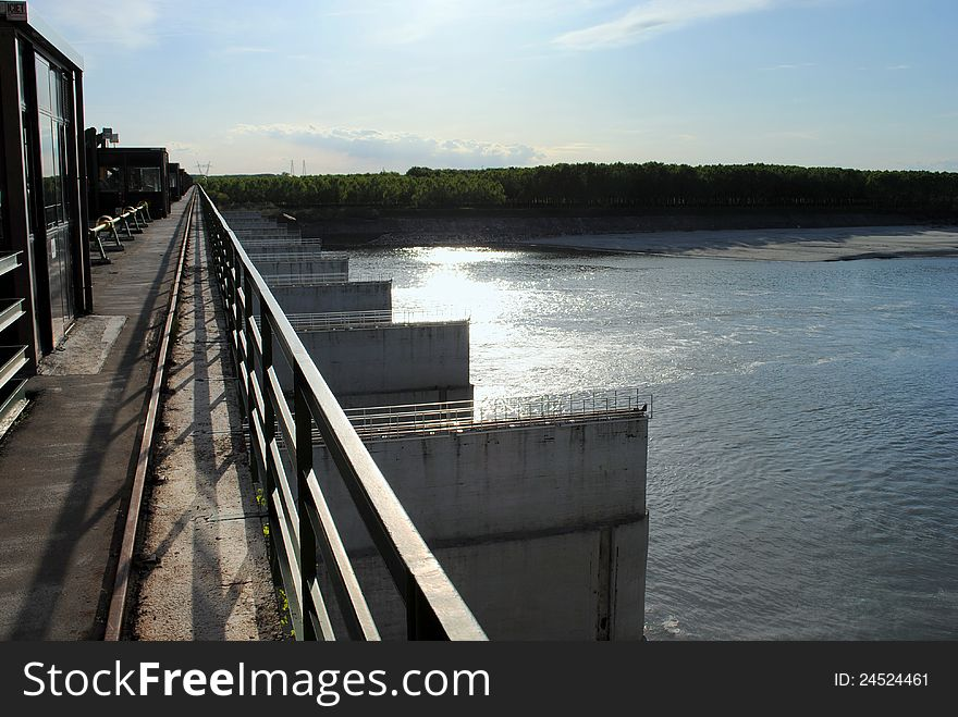 Hydroelectric dam on the river