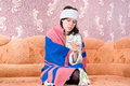 Free Thermometer Girl In A Bathrobe On The Couch Royalty Free Stock Photos - 24538588