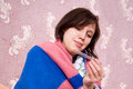 Free Sick Girl Thermometer In A Bathrobe Royalty Free Stock Image - 24538606