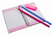 Free A Pencil Eraser, A Notebook Stock Photo - 24537830