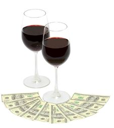 Free Wine And Money Stock Image - 24538341