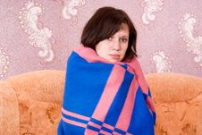 Free Girl Is Covered With A Blanket Royalty Free Stock Photo - 24538735