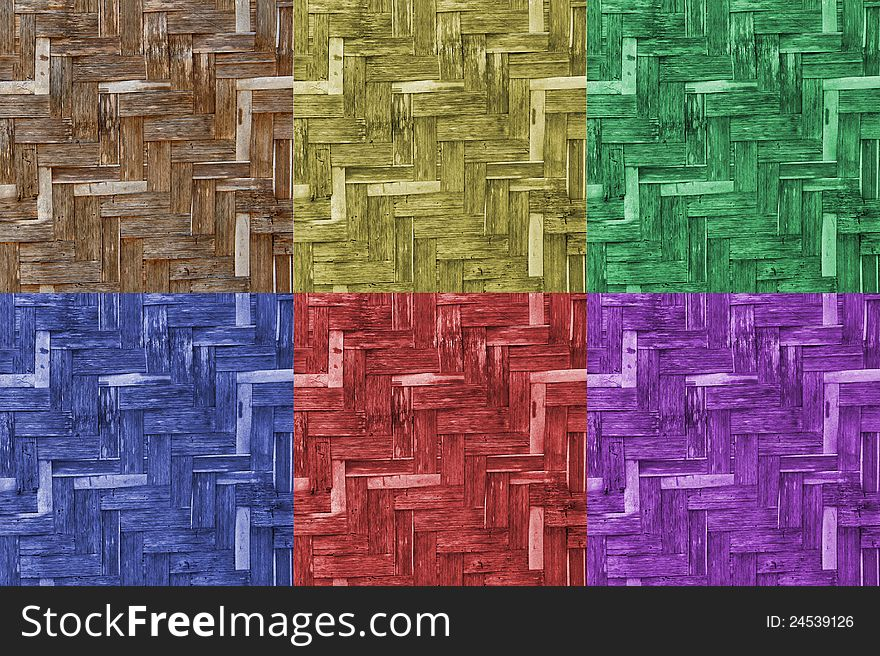 Various color of bamboo wicker wall