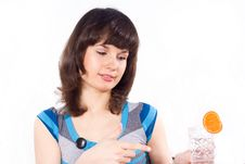 Free Girl Holding A Glass Of Water Royalty Free Stock Photography - 24541517