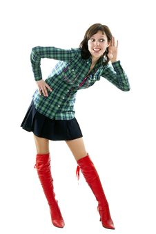 Girl In Red Boots Listening Royalty Free Stock Image