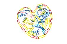 Free Heart Of Paper Clips On White Royalty Free Stock Images - 24547819