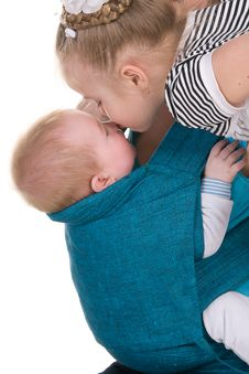 Free Sister Kisses Her Little Brother Stock Images - 24548814