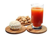 Sweet Marshmallow With A Glass Of Juice Stock Photography