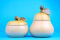 Free Two Sugar-bowls In The Form Of A Pear And Apple Stock Photo - 24559660