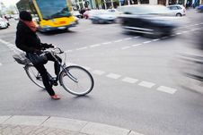 Free Cyclist Waiting At The Crossroads Royalty Free Stock Image - 24551836