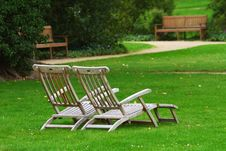 Free Two Deckchairs In A Park Stock Photography - 24553742