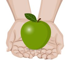 Free Hands Offering A Apple Royalty Free Stock Photo - 24554255