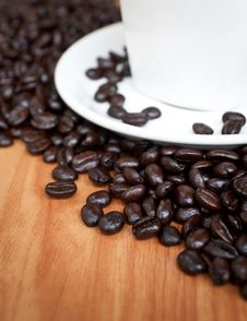 Free Coffee Beans With White Coffee Cup . Stock Photography - 24560042
