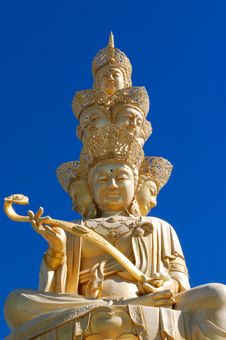 The Faces Of Golden Buddha Of Emei Stock Photo