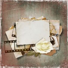 Vintage Background With Old Card And Film Strip Stock Image