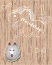 Free Wooden Card With Dog Dreaming About Friends Stock Images - 24573784