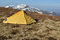 Free Yellow Tent Upon Snowy Spring Ridges Royalty Free Stock Photos - 24571198