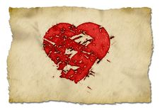 Free Grunge Heart On Paper Royalty Free Stock Images - 24584709