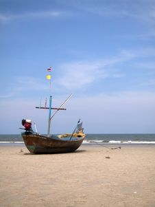 Boat On The Beach, Hua Hin,thailand Royalty Free Stock Photo