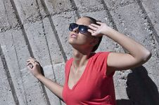 Free Beautiful Young  Fashion Woman With Sunglassess Royalty Free Stock Photography - 24588417